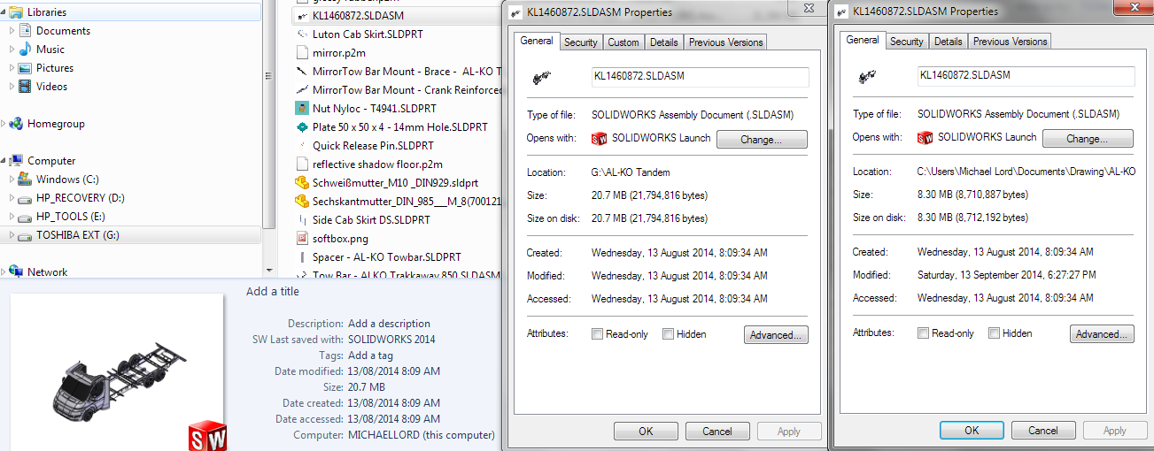 solidworks size on disk