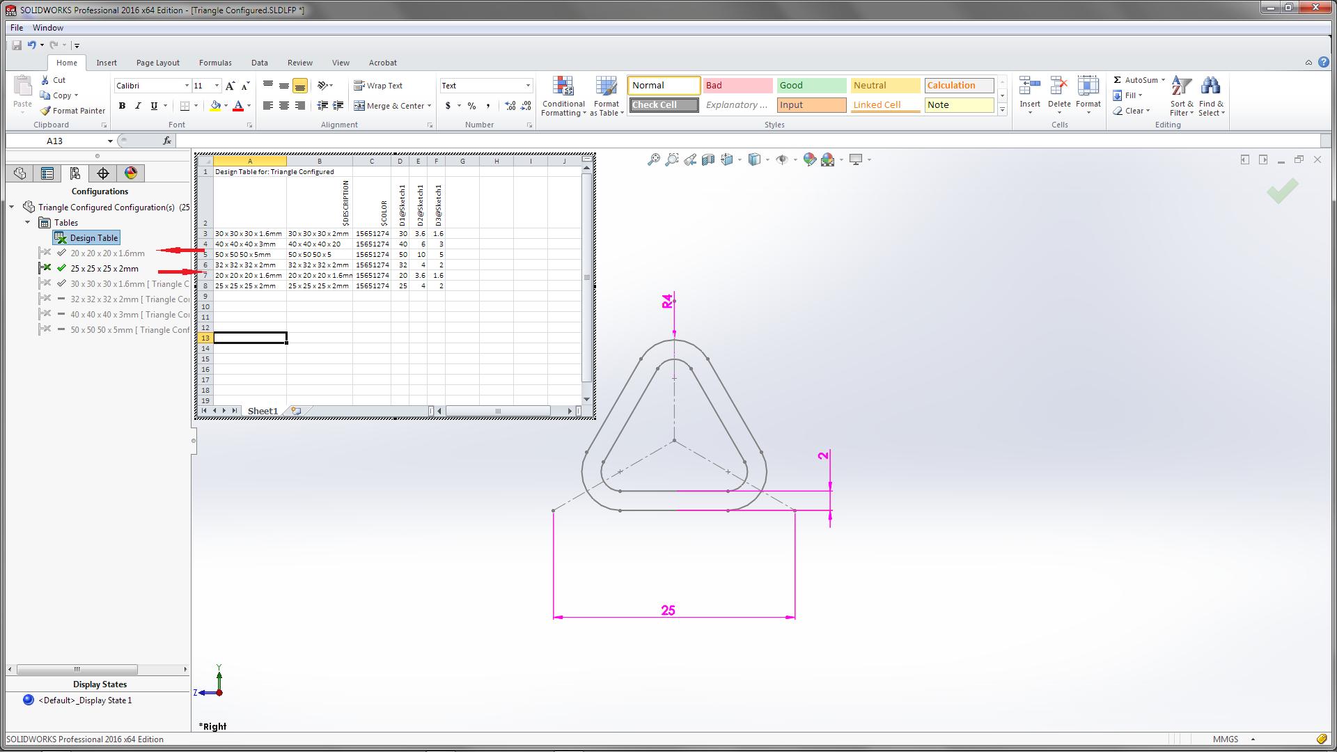 Comsolidworks Design Table : Design Tables